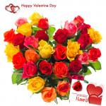 Colorful Arrangement - 50 Multicolor Roses Heart Shape Arrangement + Card