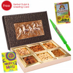 Holi Dry Fruits - 1 Kg Assorted Dryfruits (6 items) in Decorative Box, Pichkari, Herbal Gulal & Greeing Card