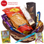 Happy Holi - Haldiram Namkeen, Ferrero Rocher 4 pcs, 2 Perk, 1 Bournville, 1 Twix, 1 Bounty, 1 Cadbury Dairy Milk Crackle, 1 5 Star, 2 Cadbury Dairy Milk Silk, Pichkari, Herbal Gulal & Greeing Card