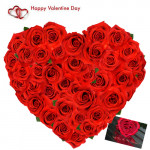 Red Roses Heart - 25 Red Roses Heart Shape Arrangement + Card
