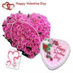 Elegant Heart - 40 Pink Roses Heart Shape + Strawberry Heart Cake 1 kg + Card
