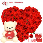 "Heart Roses & Teddy - 50 Red Roses Heart Shape + Teddy with Heart 8"" + Card"