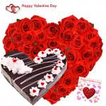 Heart Roses & Cake - 50 Red Roses Heart Shape + Black Forest Heart Cake 1 kg + Card