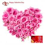Pink Heart - 30 Pink Roses Heart Shape Arrangement + Card