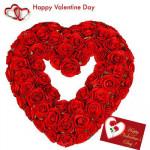 Valentine Heart - 50 Red Roses Heart Shape Arrangement + Card
