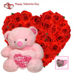 """Valentine Love Heart - 40 Red Roses Heart Shape + Teddy with Heart 6"""" + Card"""