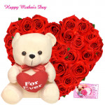 """Heartly Arrangement & Teddy - Heart Shaped Arrangement 25 Red Roses, Teddy with Heart 8"""" and Card"""
