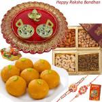 Prayes - Motichur Ladoo, Assorted Dryfruits, Designer Ganesh Thali with 2 Rakhi and Roli-Chawal
