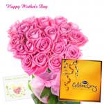 Honey Mom - 15 Pink Roses, Cadbury Celebration and Card