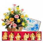 Healthy Wishes - 20 Mix Roses Basket + Set Of Laughing Buddha + Card