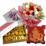 Extravaganza - 20 Mix Roses Bunch + Assorted Kaju Sweets 500 Gms + Ganesha On Wooden Slab + Card