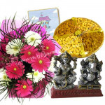 Exotic Melody - 12 Mix Gerberas In Bunch + 500 Gms Dryfruits + Lakshmi Ganesh Idol + Card