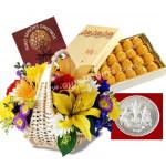Golden Glow - 12 Mix Flowers Basket + Kanpoori Ladoo 1kg + Trimurti Coin 10gms + Card