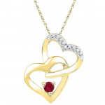 18kt Love Knot Diamond & Ruby Pendant