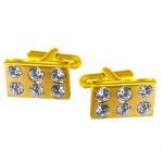 Cz Studded Gold-Plated Cufflink