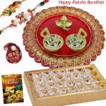 Designer Sweets Thali - Kaju Anjir Roll, Designer Ganesh Thali with 2 Rakhi and Roli-Chawal