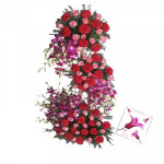 Fragrance Forever - 40 Carnations + Orchids 10 + 30 Pink Roses 4 feet Arrangement + Card