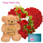 "Lovable Combo - 50 Red Roses Heart Shape Arrangement, Teddy with Heart 10"" and Card"