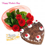 Lovely Wish - Bunch of 20 Red Roses, Black Forest Heart Cake 2 kg and Card