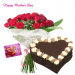 Make Her Smile - Bouquet of 15 Red Roses, Chocolate Heart Cake 1 kg and Card