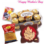 Mothers Day Treat - Ferrero Rocher 16pcs, Ganesha on wooden slab, Haldiram Namkeen 1 pack and Card