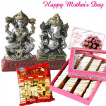 Surprise for Mom - Laxmi-Ganesha Idol, Kaju Katli 500 gms, Kreitens Chocolates and Card