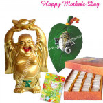 All for You - Laughing Budhha, Ganesha on leaf, Kesar Kaju Katli 250 gms and Card