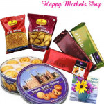 Delightful Gift - Danish Butter Cookies 454 gms, Temptations 3 bars, Haldiram Namkeen 2 pack and Card