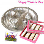 Elegant Combo - Silver Plated Puja Thali, Kaju Katli 500 gms and Card