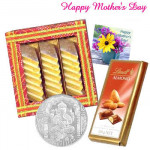 Lovely Touch - Kaju Katli 250 gms, Lindt Chocolate 100 gms, Silver Coin 10 gms and Card