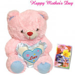 """Lovable Teddy for Mom - Pink Heart Teddy with love 6"""" and Card"""