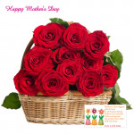 Mini Red Roses Basket - 25 Red Roses Basket and Card