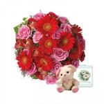 "Cute Bouquet - 15 Pink Roses & 15 Red Gerberas Bouquet + Teddy 6"" + Card"
