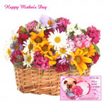 Mixed Carnations Flower - 20 Mix Carnations in Basket and Card