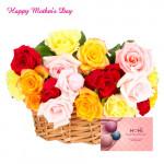 Mix Roses Basket - 25 Mix Roses Basket and Card