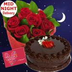 Roses N Cake - 12 Red Roses Bunch + 1/2kg Cake + Card
