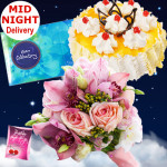 Serene Love - 12 Pink Roses Bunch, 1/2 Kg Pineapple Cake, Cadbury Celebration + Card