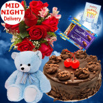 Fun for All - 10 Red Roses Bunch, 5 Assorted Bars, Chocolate Cake 1/2 Kg, Teddy 6 inch + Card