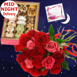 Red N Pink Mix - 12 Red & Pink Roses Bunch, Kaju Mix 250 gms & Card
