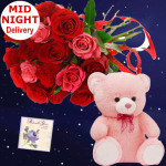 Red N Pink Bear - 12 Red & Pink Roses Bunch, Teddy 6 inch + Card