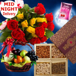 Fruits & Dryfruits - 12 Red & Yellow Roses Bouquet, 2 Kg Mix Fruits in Basket, 200 gms Assorted Dryfruits & Card