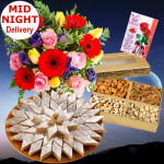 Outstanding Gifts - Bouquet 12 Mix Flowers + Assorted Dry Fruits Box 200 Gms + Katli Sweet Box 250 Gms + Card