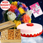 Lovely Present - 15 Multi Colour Roses + Assorted Dryfruits Box 200 Gms + 1/2 Kg Strawberry Cake + Card