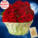 Miles Of Smiles - 25 Red Roses Basket + Card