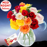 Full of Love - 24 Assorted Roses in Vase + Card