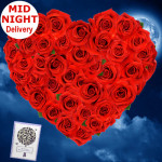 Gratifying - 30 Red Roses Heart Shaped + Card