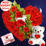 Heart Roses & Teddy - Heart Shaped Arrangement 50 Red Roses + Teddy 8' + Card