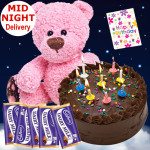 Heartly Wishes - 1 Kg Chocolate Cake + Teddy 6 Inch + 5 Dairy Milk Chocolates + Card