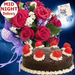Compassionate Love - 10 Red Roses Bunch, 1/2 Kg Chocolate Cake + Card