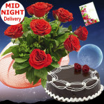 Mix of Joy - 12 Red Roses Bunch, 1 Kg Chocolate Cake + Card